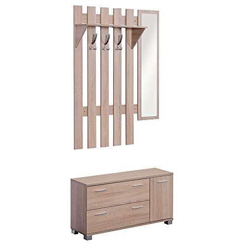 homcom Set Arredo Guardaroba 3 in 1 con Specchio e Scarpiera da Ingresso Pannello Truciolare 90 x 21.5 x 116cm Quercia