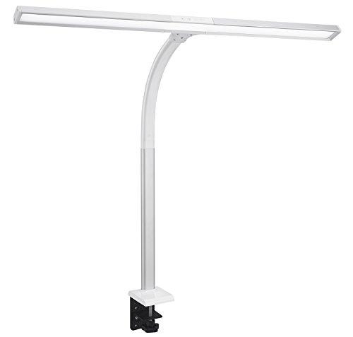 Phive LED Schreibtischlampe, 15W Tageslichtlampe Extra Helle Tischlampe mit der Klammer, dimmbare Schwanenhals Monitor lampe (4 Farbstufen, 5 Helligkeitsstufen) Silber
