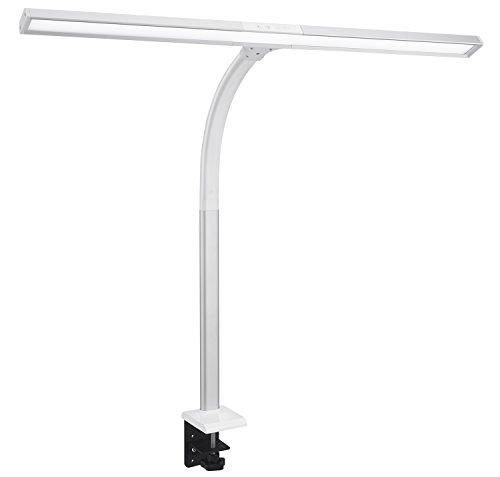 Phive LED Task Lamp, 20 Watt Super Bright Desk Lamp with Clamp, Dimmable Gooseneck Monitor Lamp(4 Color Modes, 5-Level Dimmer, Memory Function, Highly Adjustable Office Light/Workbench Lamp) Silver