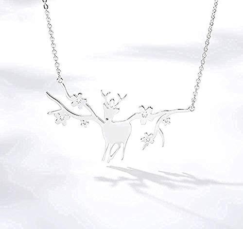 AOAOTOTQ Co.,ltd Collar Simple Animal Cornamenta Ciervo Elk Colgantes Collares Charm Woodland Good Lucky Gargantilla Collar