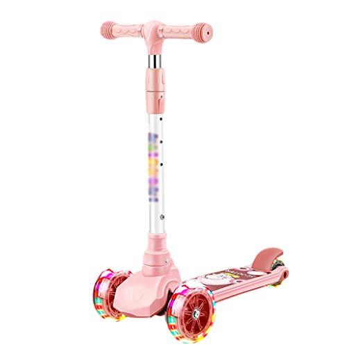 Dongxiao Scooter para Niños Scooter Plegable 3 Ruedas Scooter Intermitente PU Ruedas 3 Alturas Ajustables Patear Scooter para Niños Niños Niñas ( Color : Pink )