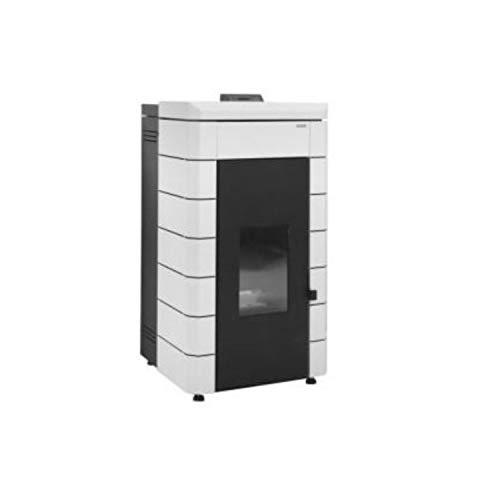 Estufa de pellets de acero modelo ALAE, potencia térmica nominal hasta 17 kW, modula en función de la temperatura del agua, eficiencia energética A+, 73 x 70 x 117 centímetros (Referencia: 7503419)