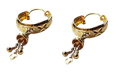 Sólido puro de 18 quilates de 18 quilates de oro amarillo fino Diseño Flor de Bell Pendientes del aro en altura los 3.2CM Anchura-1.1CM para las mujeres, las niñas, niños, para hombre Bali