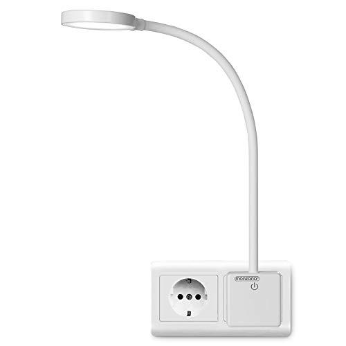 Monzana LED Steckerlampe 48cm Steckdosenlampe Steckerleuchte 5000K Touchschalter dimmbar Schreibtischlampe Wandlicht