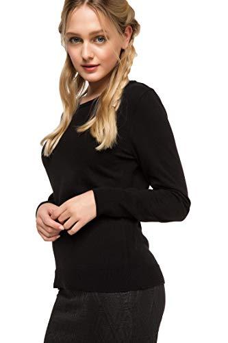 DeFacto Felpa da donna basic, girocollo, da donna, 100% acrilico, a maniche lunghe Nero L