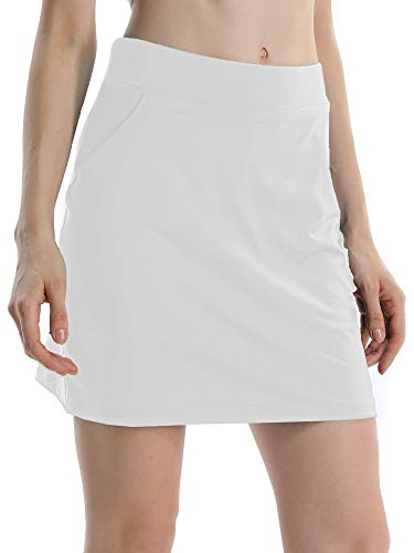 Jessie Kidden Women's Athletic Stretch Skort Tennis Skirts with Shorts and Pockets for Running Tennis Golf Workout Sports (949 White L)