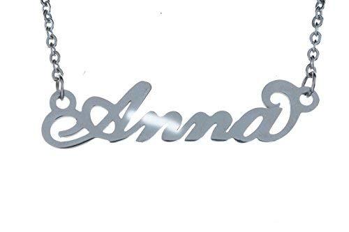 Collana Donna con Nome in Acciaio in corsivo Elegante Girocollo Regolabile Anallergico Color Argento Confezione Regalo Inclusa (Anna)