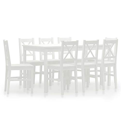Lechistan Set of 9 Modern Pine Dining Chairs and Table with Dining Table and Chair, White * 1 Chair * 8