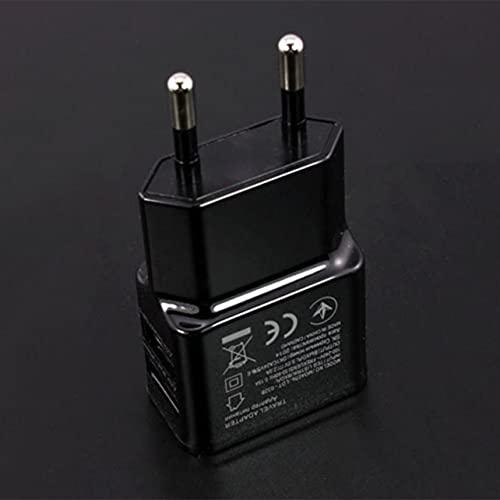 5V 1A Dual USB Plug Adaptador de corriente Cargador Cargador de teléfono móvil Cargador Enchufe eléctrico Viaje Adaptador de cargador a juego inteligente para teléfono inteligente - Negro Eu