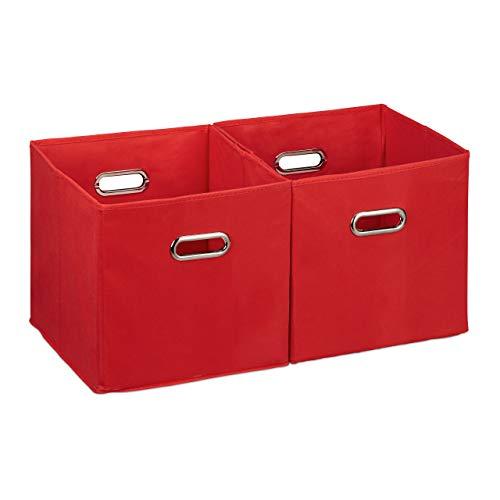 Relaxdays Cajas de almacenaje, Set de dos cestas, Sin tapa, Con asas, Plegable, Cuadrado, 30 cm, Rojo