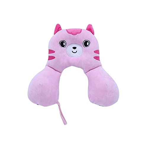 Almohada para el Cuello en Forma de U Cervical Ligero Portátil Portátil para El Bebé Ergonómico Dibujos Animados Dibujos Animados Cuello de Viaje Soporte Home U Forma Soft (Color : Pink)
