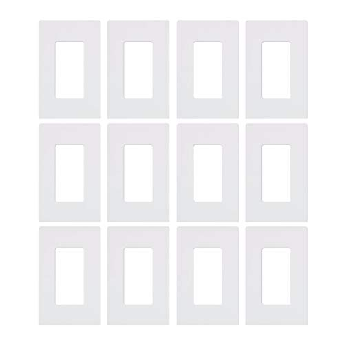 Lutron CW-1-WH 1-Gang Claro Wall Plate, White, 12 Pack