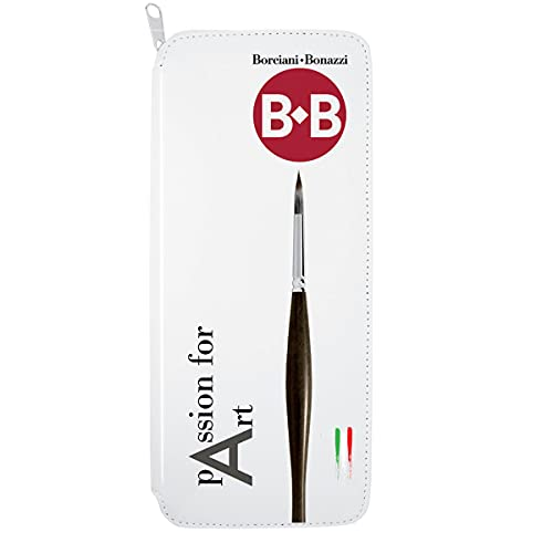Borciani e Bonazzi Passion for Art, Kit de cepillos con 5 cepillos Mangusta Serie Single, Sistema Anti-Roll, Cabello sintético suave y absorbente, Virola de latón niquelado,Mango doble cara (M
