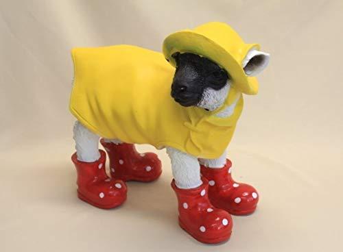 Vamundo Lustiges Deko Lamm Schaf mit Friesennerz und Gummistiefel rot - wetterfest für Innen und Außen