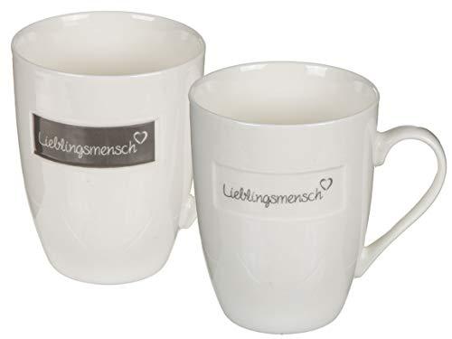 Bada Bing 2er Set Set Lieblingsmensch Tassen grau Creme Kaffebecher Becher Geschenk 71