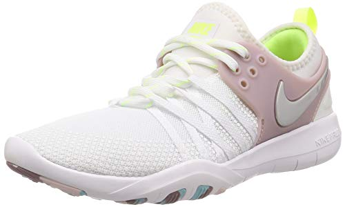 Nike Damen Trainingsschuh Free Trainer 7 Sneaker, Weiß (White/Elemental Rose/Volt Glow/Metallic Silver 102), 37.5 EU