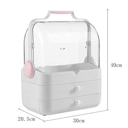 BOX Cosmétiques Boîte de Rangement En Plastique Transparent de Bureau Lipstick Bijoux Soins de La Peau Produits de Stockage D'Affichage Boîte 30 × 20,5 × 40Cm,Rose