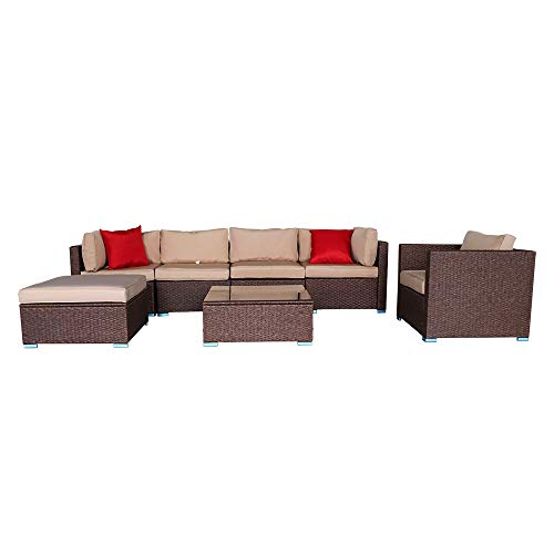 JXin 7 Pieces L-Shape Rattan Surface with Tempered Glass with Tea Table Coffee Table Patio Sofa Set