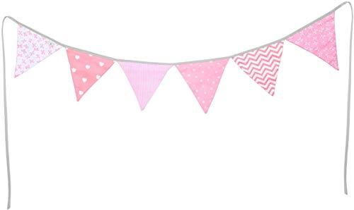 PREMYO Banderines de Tela Infantiles - Guirnaldas Decoración Habitación Bebé Niña - Triángulos Colores Rosa
