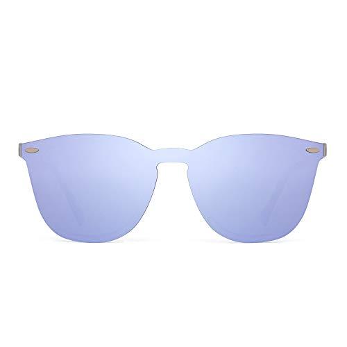 JIM HALO Sin Marco Borde Gafas de Sol Una Pieza de Espejo Reflexivo Anteojos Para Mujer Hombre(Transparente Mate/Púrpura Espejo)