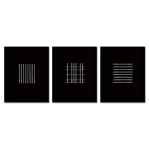 Gronda Unframed Wall Art Prints Black and White Poster Minimalist Line Modern Artwork Stripes Paper 8x10 Inch, 3 Panels