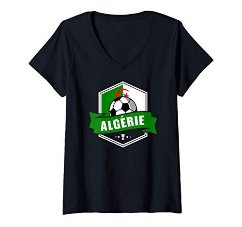 Damen Algérie Trikot Fussball Fanartikel Geschenk 2020 2021 T-Shirt mit V-Ausschnitt