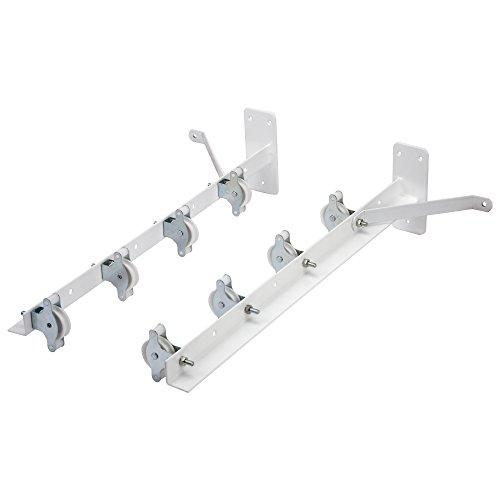 Sauvic 89396 - Tendedero con 8 Poleas plastificado,Color Blanco, 55 x 19,5 x 13,5 cm, acero, exterior