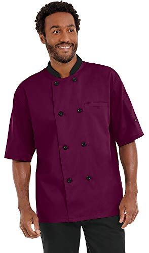 Men's Lightweight Short Sleeve Chef Coat (S-5X, 3 Colors) (Large, Wine/Black)