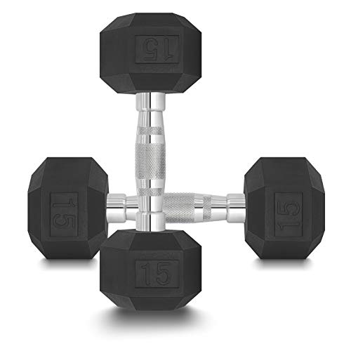DPFIT 15lb Dumbbells Set of 2, Rubber Hex Dumbbell Set Weighs 15 Pound Each, with Ergonomic Curved Metal Non-Slip Dumbbell Bar, Weight Lifting Set Dumbbells 15 lbs Pair of 2.