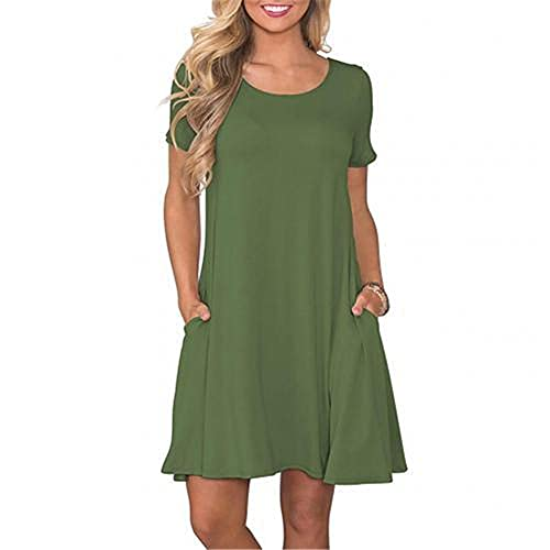 Women Dresses Summer Casual Women Solid Color Short Sleeve O-Neck Swing T-Shirt Army Green