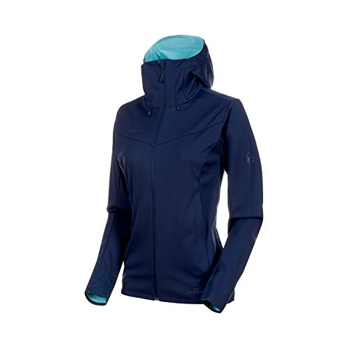 Mammut Damen Ultimate V Softshell-Jacke Mit Kapuze, Peacoat-Waters Melange, L