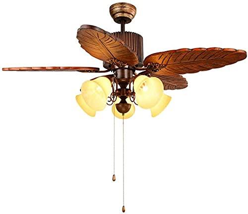 Ventilador de techo con control remoto de luz,ventiladores de techo con lámparas e interruptor de cable de tracción,aspas de madera maciza,iluminación de techo de 5 luces para lámparas de iluminac