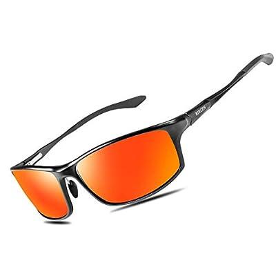 Bircen Polarized Sunglasses for Men Women UV Protection Driving Golf Fishing Sports Sunglasses (Black Frame Orange Lens)