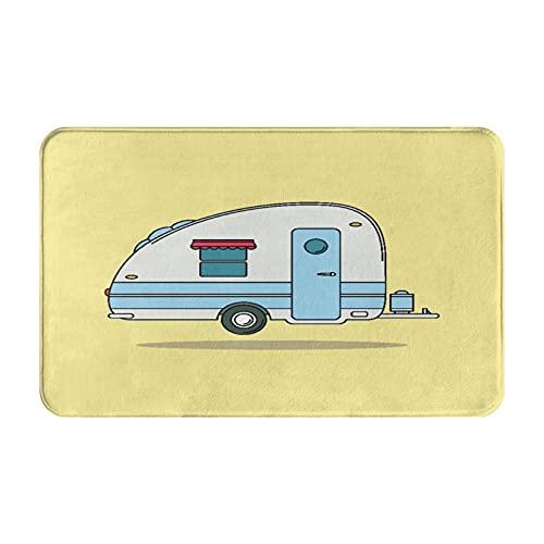 Alfombras de baño,alfombras de baño,Drive Red Old Vintage Camping Car Caravana Descanso CAM,Alfombras Antideslizantes Alfombras de baño Extra Suaves