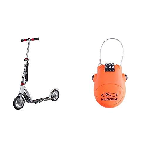 HUDORA Unisex Jugend Air GS 205 Luftreifen Big Wheel Tret-Roller City Scooter, Silber/weiß, 1size & Kabel-Schloss Fahrrad Scooter, Zahlenschloss, 14492