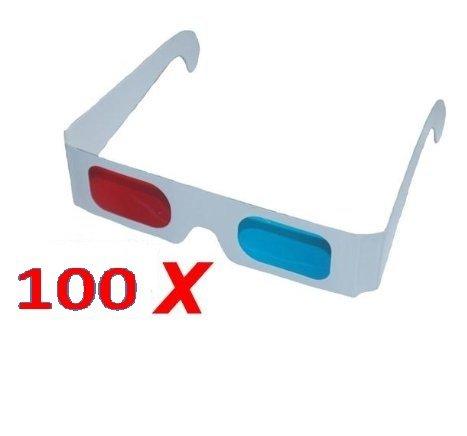 100x 3D Brillen Großpackung aus Karton Anaglyphenbrille Rot/Cyan von RBrothersTechnologie