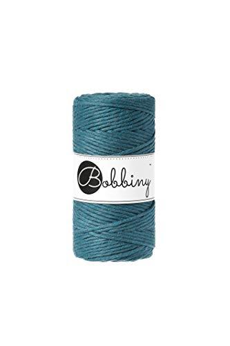 Bobbiny Oeko-Tex Premium Makramee Garn aus ökologischer Baumwolle in Peacock Blue 3 mm x 100 m