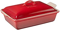 "Le Creuset Heritage Stoneware 12-by-9-Inch Covered Rectangular Dish, Cerise (Cherry Red). <span style=""text-decoration: underline;""><strong><span style=""color: #0000ff; text-decoration: underline;""><a href=""https://www.amazon.com/gp/product/B002YKMLBA/ref=as_li_qf_asin_il_tl?ie=UTF8&amp;tag=ris15-20&amp;creative=9325&amp;linkCode=as2&amp;creativeASIN=B002YKMLBA&amp;linkId=370ee7f7f3d5334c405b94dded3cce80"" target=""_blank"" rel=""nofollow noopener noreferrer"">Buy it on Amazon.</a></span></strong></span>"