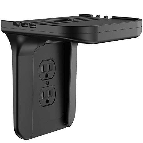 Wall Outlet Shelf Holder Charging Socket Power Perch Organizer, [Up to 15lbs] [Easy Install] with Standard Vertical Outlet, Space Saving Solution for Echo/Google Home/Cell Phone/Smart Speaker