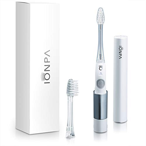 IONPA DM White Compact ION Power Electric Toothbrush with Travel Ready Cap, Brushing Timer, 2 Modes, 2 Soft Extended Filament Brush Heads, Made in Japan by IONIC KISS You, Outdoor, Camping, DM-011PW