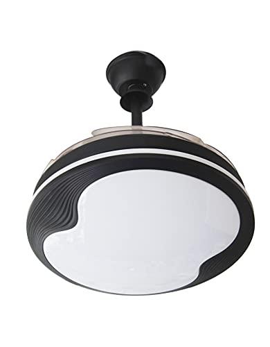 starLED Ventilador de techo con luz LED y mando a distancia, motor silencioso para habitación, ventilador de 4 aspas ABS plegables, ventilador con mando a distancia y temporizador (ventilador negro)