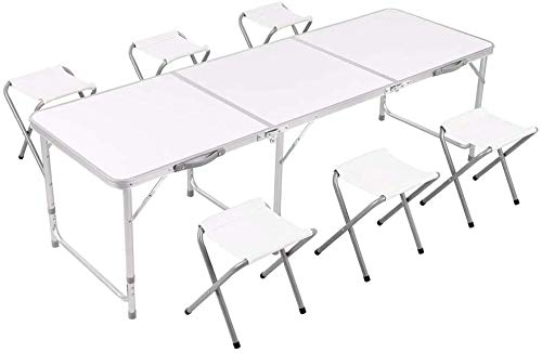 1Above Multipurpose Table Set with 6 Chair, Outdoor Indoor Use for BBQ| Picnic| Garden| Office Parties Set In White Foldable Portable Design (Size: 6FT)