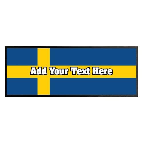 Personlig Sveriges flagga – Euros – Bar Runner bra presentidé hemma bar butik cocktail fest reklamverktyg bar matta