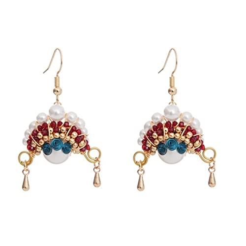 LIWEIL Pearl-Ohrringe Drop, Chinesische Stil Palast Ohrstecker, Peking Opera Gesichtsmake-up Dangler, Frauen Mädchen Frau Modeschmuck Geschenk, Weihnachten