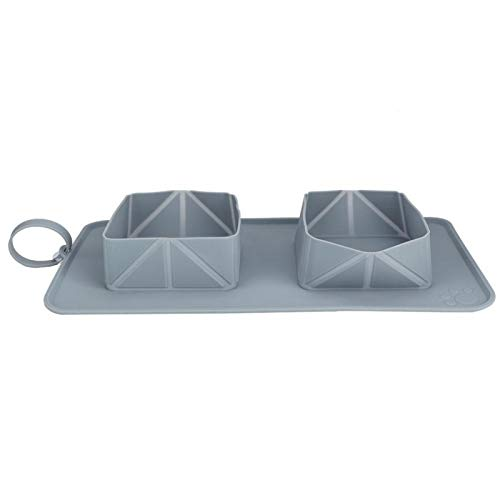 GESHUIGEsgm Dog Bowl Slow Feeder ,Pet Outdoor Portable Travel Feeder Silicone Foldable Water Dish Feeding ,Dual Bowl with Bag(Gray)
