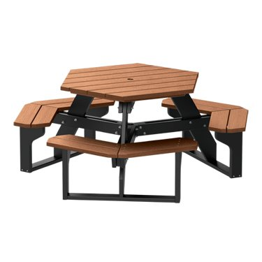 Kirby Built Products Recycled Plastic Hex Table – Premium Wood Grain - Teak