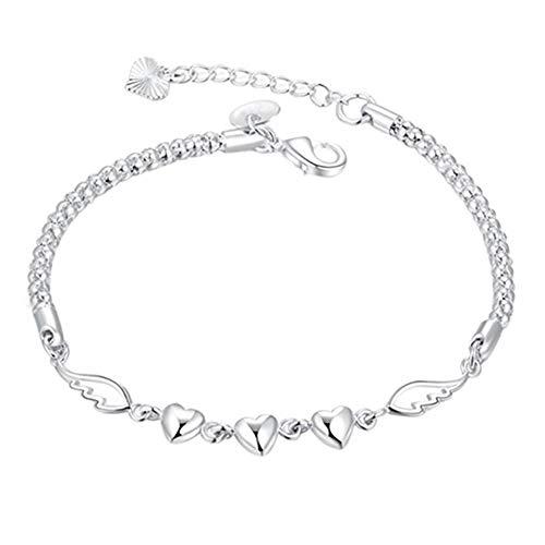Uticon Pulseras, Las mujeres de plata de ley 925 encanto amor corazón alas pulsera brazalete brazalete joyería