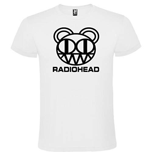 ROLY Camiseta Blanca con Logotipo de Radiohead Hombre 100% Algodón Tallas S M L XL XXL Mangas Cortas