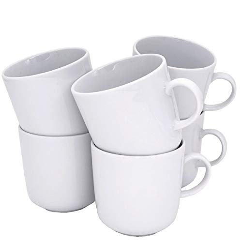 Kahla 470265A90047C Pronto Becher Set weiß ohne Dekor Kaffeebecher Set 6-teilig für 6 Personen 300 ml Henkelbecher Porzellanbecher Set Tee Kakao Tassenset