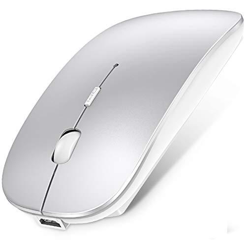 【最新版】ワイヤレスマウス Bluetooth 5.0 マウス 超薄型 静音 充電式 省エネルギー2.4GHz 3DPIモード高精度 持ち運び便利 iPhone/iPad/Mac/Windows/Surface/Microsoft Proに対応 ホワイト(白)